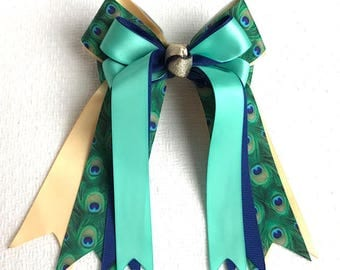 Hair Bows for Horse Shows/ Beautiful Blue Green Teal Gold Peacock Print/Stylish/Ready2Mail with elastic loops