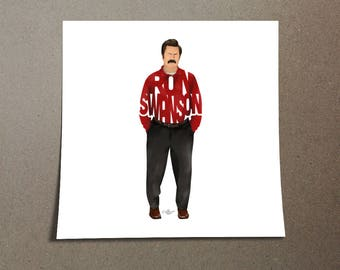"Ron Swanson Poster Typography Design of Nick Offerman from Parks And Rec with his name ""Ron Swanson"" wearing a red shirt and black pants"