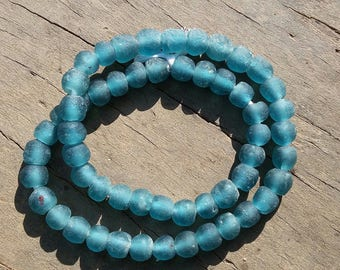 """African recycled glass beads, 8 mm.diam., 1 strand, 16"""" (41 cm.), 55/56 beads, cadet blue"""
