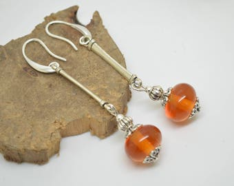 Earrings hooks amber Lampwork Glass Beads 925 sterling silver