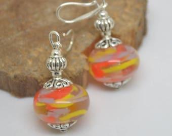Earrings 925 Silver hooks orange yellow purple Lampwork Glass Beads