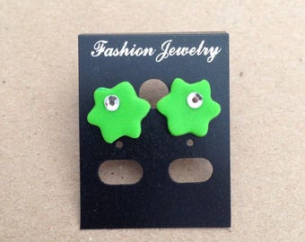Polymer clay Green Flower Earrings