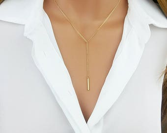 Y Necklace, Bar Drop necklace, Y Necklace Gold, Y Necklace Silver, Lariat Necklace, Minimalist Jewelry, Gift For Her, Layering Necklace