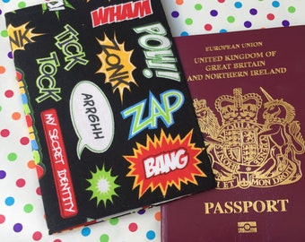 Superhero Passport Cover, Children Passport Holder, Third Culture Kid, Superheroes, Boy Passport Cover, Children Travel Gift, Boy Gift,