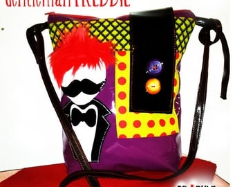 Bag/Messenger bag pop, rock, glossy vinyl crazy - aplique head mustache Tuxedo