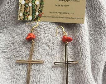 God bless with orange acai seeds gold Christian cross pendant earrings