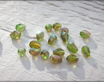 Drops 5 x 2 mm Olivine khaki X 25 Crystal from China