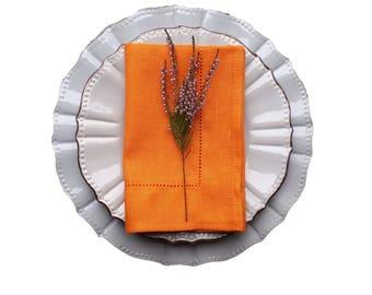 Orange linen napkins - linen napkins set - orange cloth napkins - orange fabric napkins - orange napkins set - orange table napkins