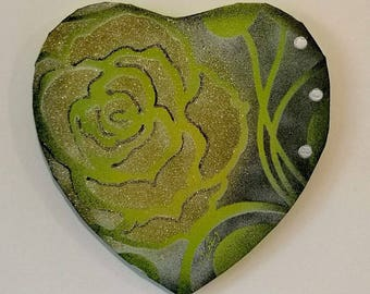 PAINTING abstract modern heart Valentine's Day Green