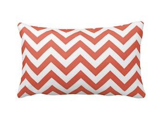 11 Sizes Available: Coral Lumbar Pillow Cover, Coral Pillow Cover, Coral Throw Pillow Cover, Coral Chevron Pillow, 12x18 Pillow, Toss Pillow
