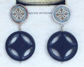 Round resin lavastone-earrings