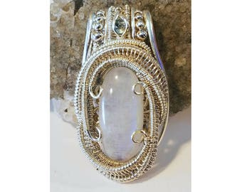 Moonstone and Aquamarine Wire Wrapped Pendant