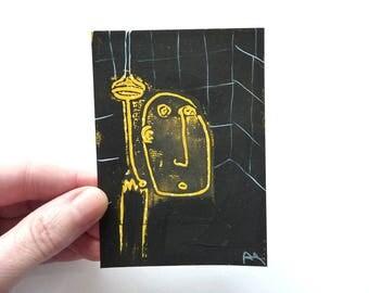 "dark shower, original miniTrash drawing, DIN A7  (2.9""x 4.13"")"