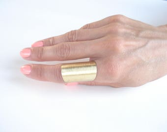 Contemporary Wide Band Matte Faced Bronze Ring  Modern Statement  Adjustable Bronze Metalwork Ring Unisex Unique Band Ring