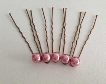 5 pins hair accessories wedding pink pearls