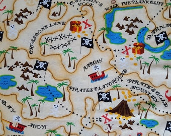 Pirates Map Cotton Fabric Sold by the yard