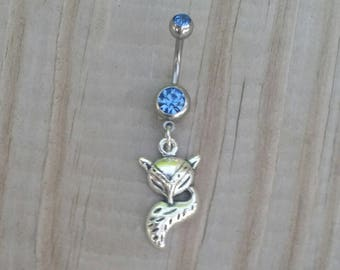 Fox Belly Button Ring, Fox Tail Navel Ring, Dangle Belly Ring, Body Piercing, Body Jewelry, 14g Barbell.
