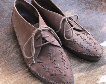 Chocolate brown leather Moccasins Oxfords size 9