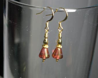 Handbell Earrings with pink/rose colored bell beads and gold accents