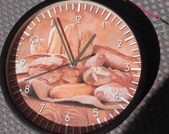 pattern Bread bakery kitchen wall clock