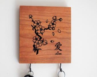 Asian Cherry Blossom  - Love Mini Key Rack - Key Hanger - Key Hook - Key Holder