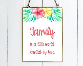 Family Is A Little World Created By Love - Illustrative PRINT. Beautiful New Baby Gift. Available As Either A Print Or Mounted Print.