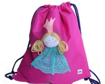 Waterproof swim bag, Princesses Swim Bag, Kids Drawstring Backpack, children swimming bag, Girls sport and swim bag, Pre-school nursery bag