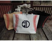 Baseball or Softball Tote Bag, Beach Bag, Diaper Bag - Personalized or Monogrammed - 4 Colors, Choose Your Font and Your Thread!