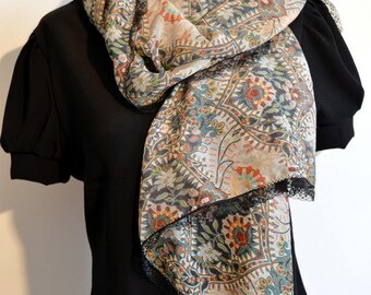 scarf with flowers and lace