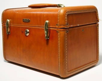 Vtg Leather Shwayder Bros Samsonite 4612 Luggage Overnight Cosmetic Train Case