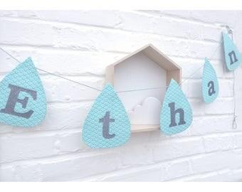 Garland drops personalized name boy child Ethan, room decoration, nursery, boy nursery decor