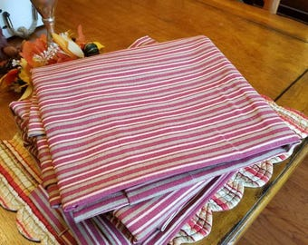 Set of four striped cottage style curtains  (panels)