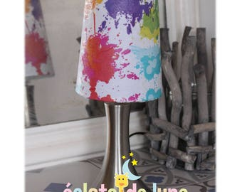 Touch lamp stain paint white background with name personalized on the foot