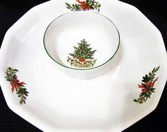 CIJ Tray Chip and Dip Pfaltzgraff Christmas Heritage two piece Vintage blm