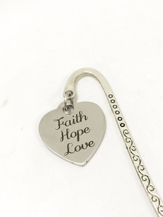 Faith Hope Love Bookmark, Faith Hope Love Gifts, Faith Hope Love Planner Accessories, Christian Gifts, Scripture Gifts, 1 Cor 13 Charm