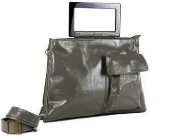 GrayLeather Bag, Women Handbag, Laptop Bag, Leather Handbag, Shoulder Bag, Messenger Bag, Back to School, Trending Bag, Double Bag