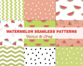 Watermelon patterns, summer digital paper, vector seamless patterns