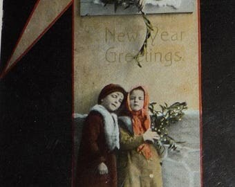 ON SALE Children With Mistletoe Under a Window Antique New Year Postcard