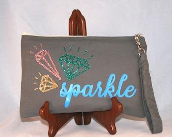 Canvas Cosmetic bag, pencil case, wristlet