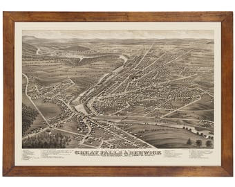 Berwick, ME & Great Falls, NH 1877 Bird's Eye View; 24x36 Print from a Vintage Lithograph