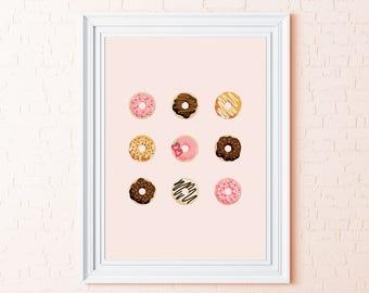 Donuts Grid printable wall art