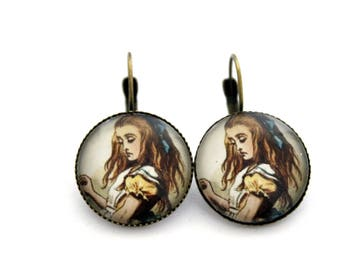 "Earrings sleepers ""alice in Wonderland country"" cabochon 20mm"