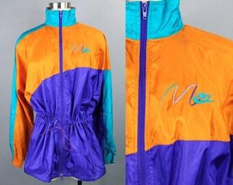90s Nike Windbreaker Mens Medium, 90s Nike Track Jacket Full Zip, Vintage Nike Neon Windbreaker Lightweight Jacket, Nike Gray Tag