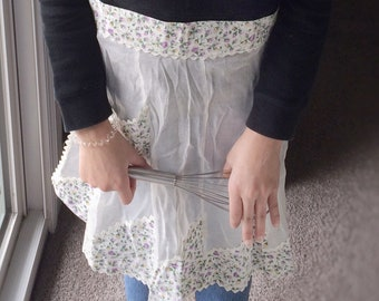 Vintage Apron with floral pocket detail, Handmade Hostess half apron, Sheer White ladies apron, Kids apron, Mother's Day Gift, Birthday Gift