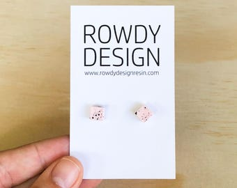 Square Stud Earrings - Pastel Pink with Black Speckle