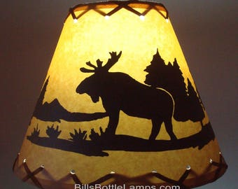 Cone shade lamp etsy moose lamp shade rustic cottage table light lamp shade oil kraft clip on bulb aloadofball Gallery