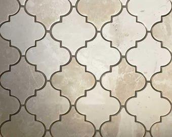 Lantern Arabesque Mosaic Tile Botticino Marble Polished