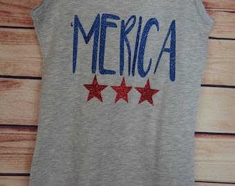 Merica Tank Top, Ladies Merica Tank, Merica Shirt, America Tank Top, America Shirt, Fourth of July Tank Top, 4th of July Shirt, USA Clothing
