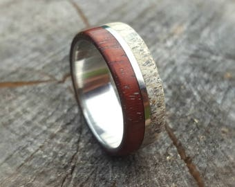 Titanium Ring, Mens Titanium Wedding Band, Antler Ring and Wood Ring on Titanium