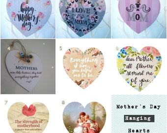 Mother's Day Special decoupaged, hanging wooden hearts
